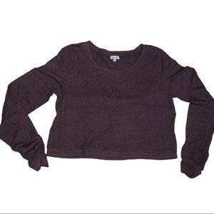 Splendid Purple Long Sleeved Knit Crop Top Size L